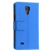 Samsung I9195T Galaxy S4 mini Slim Synthetic Leather Wallet Case with Stand - Samsung Leather Wallet Case (Blue)
