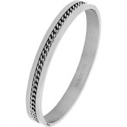 The Jewelbox Curb Rhodium 316L Surgical Stainless Steel Openable Bangle Cuff Kada Bracelet Men