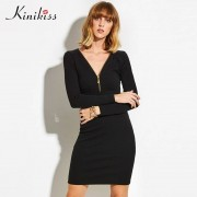 Kinikiss 2017new winter sweater female elastic black bodycon dress cashmere autumn sweater dress zippers sexy knitted sweater