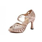 MGM-Joymod Zapatos de Baile para Mujer con tacón Acampanado y Malla Satinada, Beige/3.5 Pulgadas, 6 US