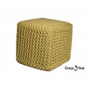 Pletený puf CRAZYSHOP CUBE, žlutá (ručně pletený)