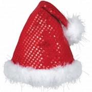 Geen Rode luxe pailletten kerstmuts