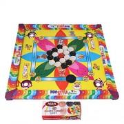 Samaira Sunshine Carrom Board with Ludo Snake Ladder Game for Kids (Multicolour, Small/14-inch)