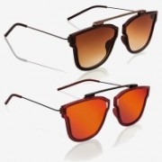 Knotyy Retro Square Sunglasses(Brown, Orange)