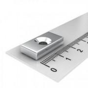 Magnet puternic neodim bloc 20 mm x 10 mm x 3 mm cu gaura de sustinere de 4 mm diametru