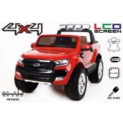 Mașinuță electrică de lux pentru copii Ford Ranger Wildtrak, 4x4 LCD, ecran LCD, , 2.4 Ghz, 2x12V, 4x Motoare, telecomandă, două scaunde de piele, roți ușoare Eva, Radio FM, Bluetooth, roșu