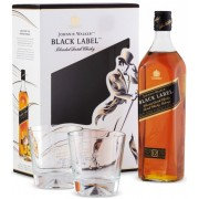 Whisky Johnnie Walker Black Label + 2 Pahare, 12 ani, 40% alc., 0.7L, Scotia