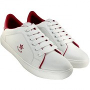 Blinder Mens White Red Lace-Up Casual Sneakers Shoes