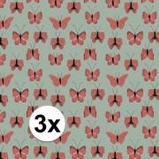 Geen 3x Verjaardag kadopapier groen/rood vlinders 200 x 70 cm voor kinderen Groen