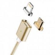 Cablu de date / incarcare magnetic 2 in 1 Micro USB Lightning 1m textil Auriu BBL838
