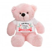2 feet pink teddy bear wearing The Best Mother in the world T-shirt
