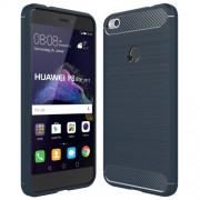 Huawei P8 Lite (2017) Brushed Carbon Fiber Texture Shockproof TPU Protective Case(Dark Blue)
