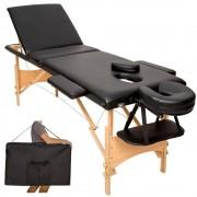 A1 Camilla de masaje plegable de madera Reiki de 3 cuerpos negro 186 x 62 cm