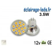 Ampoule led MR11 15 led SMD 5050 blanc naturel 12v ref mr11-01