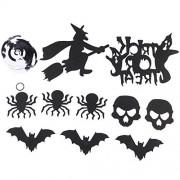 Tomaibaby 13 Piezas Halloween Techo Colgante Remolino Murciélagos Araña Cráneo Remolino Tarjetas Colgantes Fiesta de Halloween Decoraciones Interiores