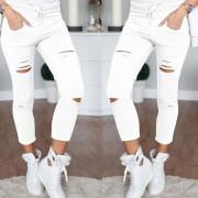 Pantalones Slim Para Mujer Con Verdugón De Tela Algodón - Blanco