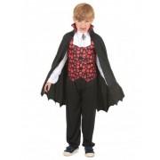 Vegaoo Vampir-Jungenkostüm mit Totenköpfen schwarz-weiß-rot