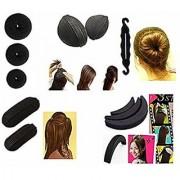 bun maker hair accessories combo of 11pcs for women