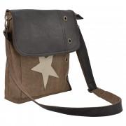 Corium® Дамска чанта от лен 27 x 30 x 6 см. със кафяво-бежова звезда