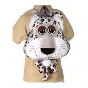Fiesta Toys Happy Kritters Big Head Mochila, diseño de Leopardo, Color Blanco