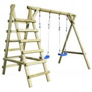 vidaXL Комплект от две люлки със стълби, 268x154x210 cм, бор