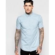 Minimum Рубашка из выцветшего денима с короткими рукавами Minimum - Синий