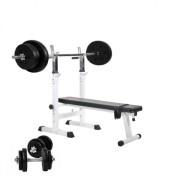 Gorilla Sports Halterbank Verstelbaar Met 70 kg Halterset Kunststof - Gorilla Sports