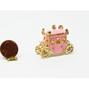 Dollhouse Miniature Dollhouse Miniature 1:12 Princess Carriage in Gold & Pink
