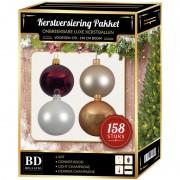 Bellatio Decorations 158 stuks Kerstballen mix beige-wit-donkerrood voor 180 cm boom