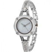 RIDIQA Analog Crystal Studded WHITE Dial Stainless Steel Wrist Watch ForGirls Women-RD-076
