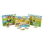 Melissa and Doug World of Animals Wooden Peg Puzzles Set - Pets, Farm, and Safari, Multi Color