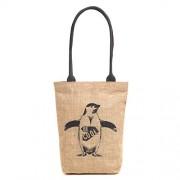H&B Eco-friendly vintage waterproof jute shoulder bag(Be cool,size 11x13x3 inch) (Black)