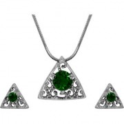 Mahi with Crystal Elements Green Triangle Beauty Rhodium Plated Pendant Set for Women NL1104143RGre