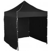 Nůžkový stan 2x2m ocelový, Černá, 3 boční plachty