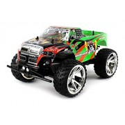 Big Wheel King Rechargeable Rc Truck Big 1:10 Scale Monster Rfs Off Road Ready To Run Rtr W/ Working Suspension And Spring Shock Absorbers (Colors May Vary)