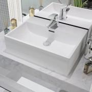 vidaXL Chiuvetă baie, orificiu robinet, ceramică, 51,5x38,5x15 cm, alb