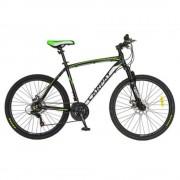Bicicleta Mtb-Ht 26 Carpat Wrangler, Cadru Aluminiu, Culoare Negru/Verde, C2655B