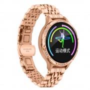 M9 Waterproof Health Monitoring Multi-function Female Smart Bracelet with Metal Strap - Gold