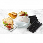 Sandwich/Panini si Waffle Maker 3-in-1 Domo DO9122C, Putere 750 W, Placi detasabile, Placi antiaderente