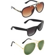 Zyaden Aviator, Wayfarer, Rectangular Sunglasses(Brown, Green, Black)