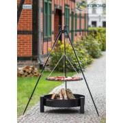 BBQ Schwenkgrill, mit Stahlrost 50 cm, Feuerschale 60 cm, und Dreibein Stativ 180 cm Hoch