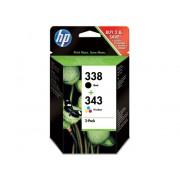 HP Pack de ahorro de 2 cartuchos de tinta Original HP 338 Negro y HP 343 Tricolor para HP DeskJet, HP OfficeJet, HP PSC, HP Fax