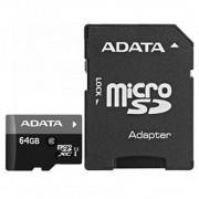 Micro Secure Digital Card Adata, AUSDX64GUICL10-RA1, 64Gb, Clasa 10, adaptor SD, Negru