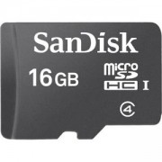Карта памет SanDisk 16GB Class 4 MicroSD Card with Adapter, SDSDQB-016G-B35