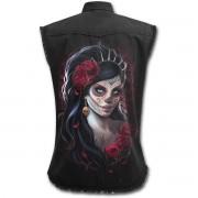 košile dámská bez rukávů SPIRAL - DAY OF THE DEAD - Black - K026G070
