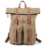 Kemy's Mens Canvas Backpack Leather Rucksack for Men Travel Backpacks Vintage Bookbag with Laptop Compartment Rustic Large Unisex Gifts Khaki