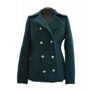 Vlněný zimní dámský kabát s dvouřadovým zapínáním