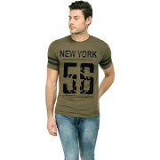 TRENDS TOWER Men Half Sleeve Round Neck T-Shirt Olive-Green Color New York 56 Graphics Print