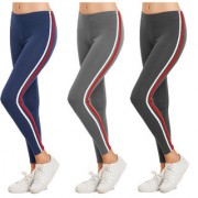 Eazy Trendz Exclusive Womens Jogger Gym Yoga Sports Fitness Cashual All Purpose Side Striped Ankle Length Leggings Tights with Stretchable Thick Spandex Rib Cotton Fabricating (Free Size) (Pack of 3)