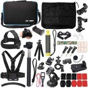Huinaa 50 in 1 Basic Common Action Camera Outdoor Sports Accessories Kit for GoPro Hero 6/5/Session 5/4/3/2/1 SJ4000/5000/6000/Xiaomi Yi/AKASO/APEMAN/DBPOWER/Sony Sports DV and More